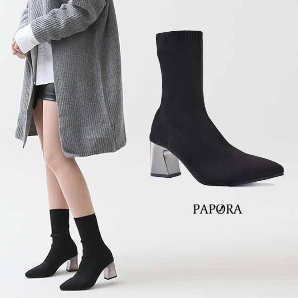靴子.彈性絨布別緻粗高跟短靴【K908】黑