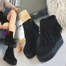 短靴 帶流蘇 厚底 松糕鞋 內增高 坡跟 短靴 防水臺 超高跟 12cm 流蘇 高跟 女靴