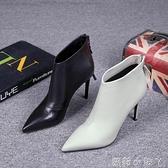 歐洲站女鞋2020秋季新款歐貨真皮流蘇後拉錬尖頭細跟高跟鞋短靴女 蘿莉新品