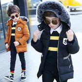 男童棉衣加厚保暖外套新款中大童毛領連帽中長款冬裝寶寶棉服    韓小姐