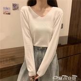 長袖T恤白色v領針織長袖t恤女2020年新款秋冬韓版修身外穿內搭打底衫上衣 雲朵走走