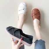 懶人鞋.日本雜誌款魚骨編織厚底休閒包鞋.白鳥麗子
