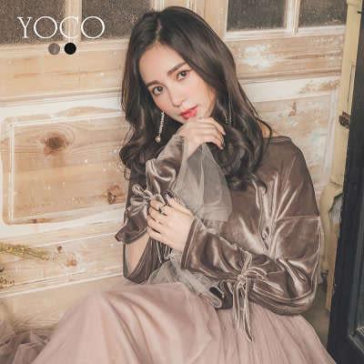 東京著衣【YOCO】優雅光澤感袖微透網紗開衩綁帶上衣-S.M.L(172703)