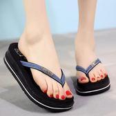 韓版夏季時尚夾腳坡跟耐磨高跟人字拖厚底LJ3584『miss洛羽』