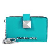 MICHAEL KORS KARLA 防刮皮革多層卡片夾 風琴式名片夾(藍綠色)-35S9SKGD5L