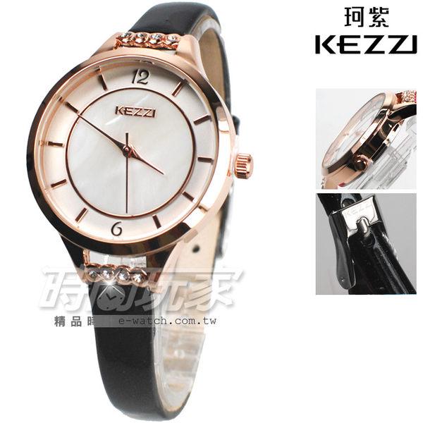 KEZZI珂紫 微亮鑲鑽 優雅皮帶錶 玫瑰金x黑色 女錶 KE1428玫黑