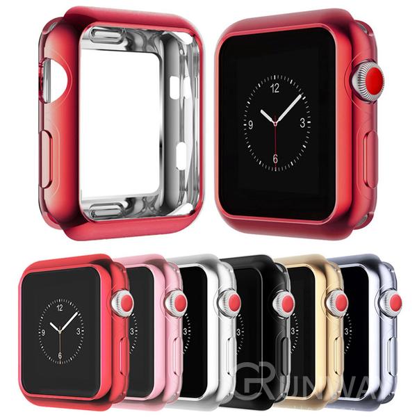 Apple watch 錶帶 電鍍軟質保護殼 金屬光澤 不掉色 薄輕閃耀 watch1/2/3/4/5 手錶錶帶 蘋果手錶