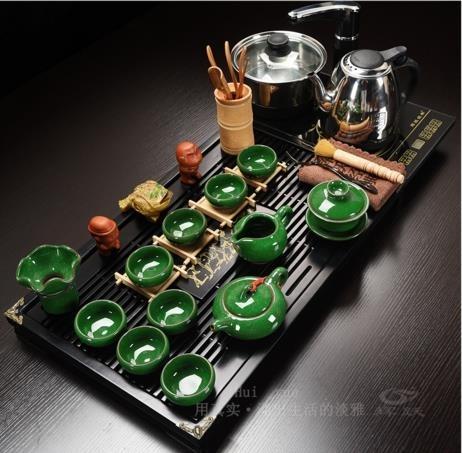 茶具 輝躍功夫茶具套裝家用泡茶全自動茶壺茶道電熱爐茶台實木茶盤茶杯  維多