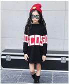衣童趣♥韓版 中大女童 時尚潮流 加厚圓領 字母撞色毛衣連身裙 可當上衣穿【現貨】