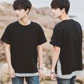 春夏韓版男士撞色下擺短袖T恤學生寬鬆時尚T恤假兩件t恤