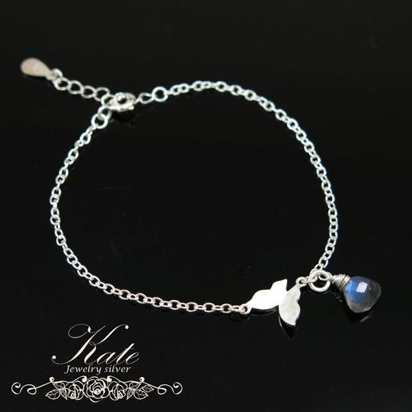 銀飾純銀手鍊 天然拉長石 閃藍光 小蝴蝶 純銀手做 925純銀寶石手鍊 KATE 銀飾