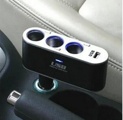 [協貿國際]車載點煙器1拖3插座手機充電器 可折疊