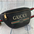 BRAND楓月 GUCCI 古馳 527792 經典款 黑色 塗鴉 腰包 斜跨包 小款