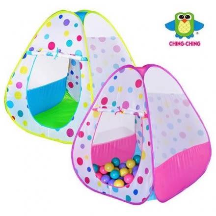 親親 繽紛三角帳篷+100顆球(6cm) 粉 / 綠