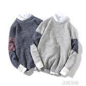 男士毛衣圓領長袖套頭針織衫加肥加大碼男裝冬季韓版潮流胖子線衣『艾麗花園』