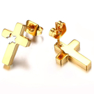 《 QBOX 》FASHION 飾品【QES-180G】精緻氣質星星十字架金色鈦鋼針式耳環
