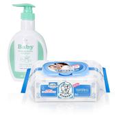 【奇買親子 網】貝恩Baan NEW 嬰兒保養柔濕巾80 抽24 入箱台塑生醫嬰幼童奶瓶洗潔劑罐裝