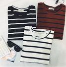 EASON SHOP(GU0345)條紋控必備經典百搭基礎款圓領短袖條紋T恤