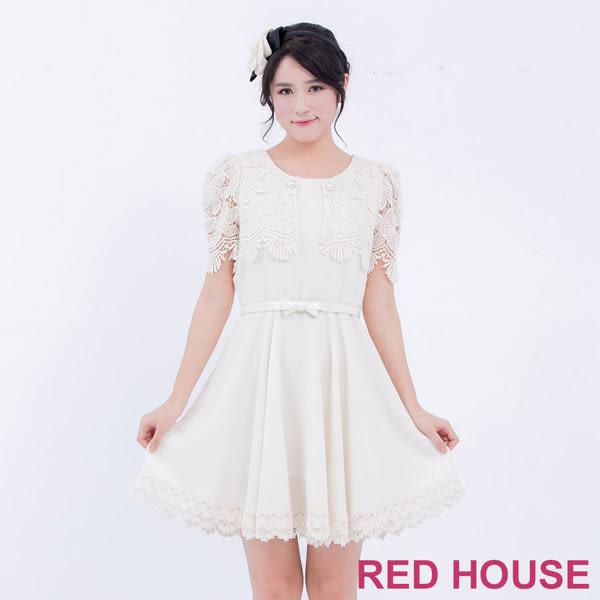 RED HOUSE-蕾赫斯-蕾絲拼接素面短袖洋裝(共2色)