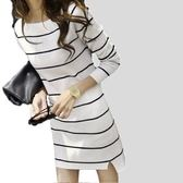 DE SHOP~中長款條紋連身裙女長袖洋裝彈力貼身針織裙衫女上衣韓版側開衩平口長版前短後長(RE-2355)
