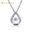 925純銀項鍊 /「閃爍動感」晶鑽墜 / 銀飾珠寶 / 水滴造型純銀墜 / 贈白鋼項鍊