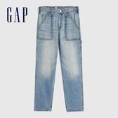 Gap女童 淺色水洗裝飾紐扣牛仔褲 609843-水洗藍