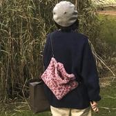 包包女秋冬新款韓版毛毛絨豹紋手提包軟萌少女鍊條側背素色包 降價兩天