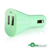 馬卡龍車充 車用充電器 高速 雙USB輸出 Fonestuff 瘋金剛 FC001 (綠色)