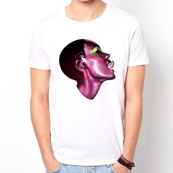 GRACE JONES 80s短袖T恤-白色 人物相片幽默搖滾設計插畫裸女潮流情色樂團玩翻