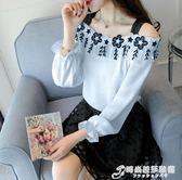 雪紡衫女 新款韓版時尚一字露肩超仙洋氣小衫長袖小仙女上衣服 時尚芭莎