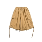 短褲-棉質大口袋寬鬆格紋百搭男休閒褲3色73xl16[巴黎精品]