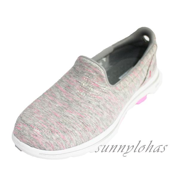 (A9) SKECHERS 健走鞋 GO WALK 5 女鞋 運動鞋 粉紅絲帶公益款 15044GYPK 髮絲淺灰粉 [陽光樂活]