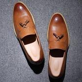 復古流蘇休閒皮鞋 青年潮鞋一腳蹬懶人鞋《印象精品》q80