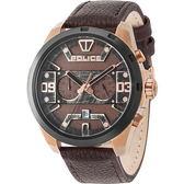 【台南 時代鐘錶 POLICE】義式潮流 復古刷痕文青風格時尚腕錶 15365JSRB-12 皮帶 咖啡 50mm
