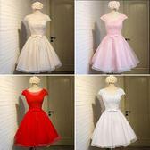 禮服裙女2018新款韓版夏短款宴會白色伴娘服成人禮性感顯瘦晚禮服