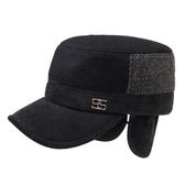 軍帽-時尚拼接鉚釘裝飾毛呢男護耳帽3色73pi8【巴黎精品】