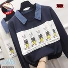 薄款方領俏皮兔子印花孕婦哺乳【橫拉式】上衣 兩色【CRH20205-1】孕味十足 孕婦裝