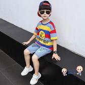 運動套裝 童裝男童夏裝套裝2019新款兒童網紅洋氣時髦運動韓版帥氣夏款潮衣 2色