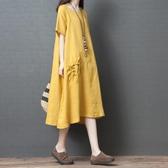 大尺碼洋裝 2019夏季新款韓版大碼素面連身裙女寬鬆減齡氣質休閒亞麻中長裙子