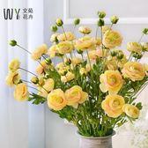 仿真花茶花茶玫單枝花束假花裝飾花絹花室內客廳落地花藝花卉擺件元宵節 限時鉅惠