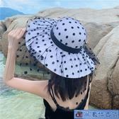 歐洲名媛風波點蕾絲網紗大檐M草帽女夏天海邊沙灘優雅防曬度假帽 3C數位百貨