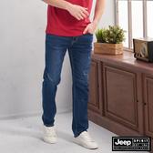 【JEEP】經典微刷破刷色直筒牛仔褲 (藍色)