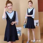 大尺碼洋裝 秋裝韓版女裝七分袖修身蕾絲拼荷葉邊裙時尚連身裙 EY4859『M&G大尺碼』