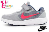 NIKE REVOLUTION 3 (PSV)慢跑鞋 童 網布透氣 輕量運動鞋N7213#灰粉◆OSOME奧森童鞋/小朋友