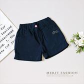 中大童 深藍簡約貼鑽反摺彈性平織短褲 深藍 女童 休閒 彈性 韓版 素面 純色 哎北比童裝