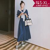 加大碼洋裝-休閒慵懶圓領披肩牛仔連身裙(S-XL)
