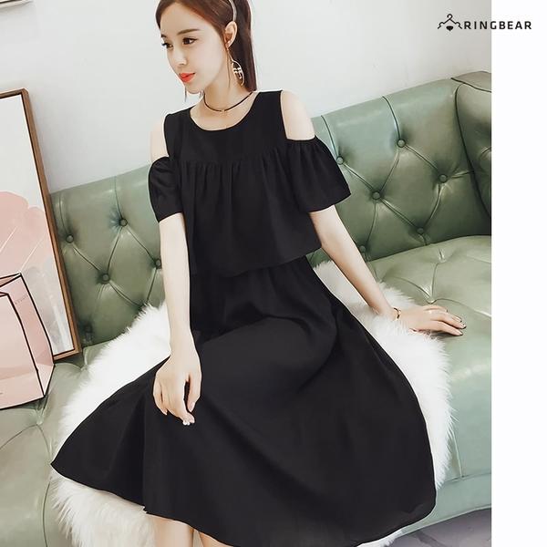 小洋裝--優雅時尚修長顯瘦波浪接片圓領露肩雪紡連身裙(黑L-3L)-D527眼圈熊中大尺碼