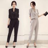 黑色氣質連身褲 新款夏裝時尚修身顯瘦春秋裝職業ol女裝潮 DN6842【VIKI菈菈】