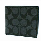 【COACH】展示品經典CC LOGO PVC防刮皮革 8卡對折輕便短夾(黑灰)