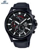 CASIO EDIFICE 賽車腕錶 特製織紋霧鈦黑面板計時EFV-530BL-1A原廠公司貨47mm